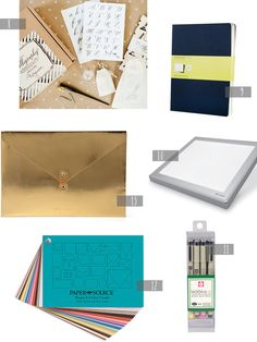 2013 Gift Guide: Designers + Calligraphers | 8. Calligraphy Starter Kit; 9. Moleskine Notebooks; 10. Calligraphy Light Box; 11. Micron Pens and black Uniball Pens; 12. Paper Source Swatch Book; 13. Poppin Metallic Folio | Click through for full links and resources!