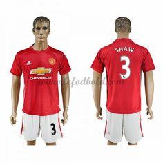 Billige Fodboldtrøjer Manchester United 2016-17 Shaw 23 Kortærmet Hjemmebanetrøje
