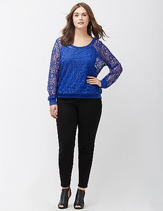 The romance of lace takes your casual day sweatshirt to a whole new level for a dressy-meets-comfy favorite. Ribbed trim. lanebryant.com
