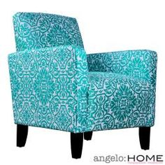 Turquoise damask arm chair