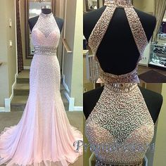2016 elegant high neck halter pearl beaded pink chiffon prom dress, ball gown, prom dresses long