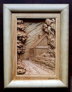 Купить Домик в деревне - для дома и интерьера, Картины и панно, панно, падарок, деревня, домик в деревне