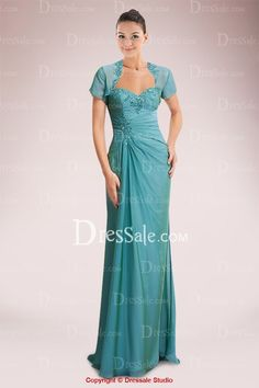 Refined Chiffon Strapless Column Mother of Bride Dress Featuring Beaded Applique and Jacket
