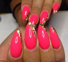 Pink and Gold  Stiletto Nail Art