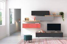 Composición modular para salones modernos. Ideas para salones modernos, muebles TV. Living room modern ideas. Diseña tu salón. Design you living. Acabados cristal carbón brillo, carbón mate, cristal gris brillo, gris mate, cristal cayena brillo, cristal carbón mate.