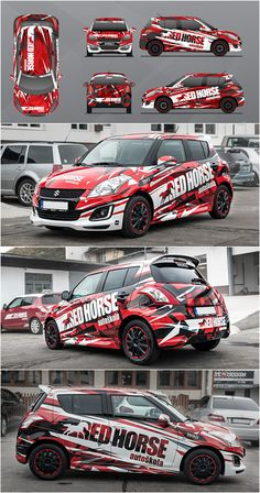 Design for Red Horse driving school. Suzuki Swift Sport, Vehicle Signage, Car Competitions, Car Paint Jobs, Suzuki Cars, Van Car, Sr1, Driving School, Car Advertising