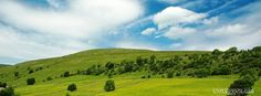 stunning nature  blue skies and green meadows with beautiful clouds Facebook wall paper, with green scenic estate  tress