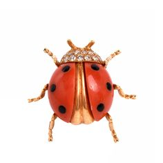 Tiffany & Co. Coral & Diamond Gold Beetle Lapel Brooch | From a unique collection of vintage brooches at https://www.1stdibs.com/jewelry/brooches/brooches/