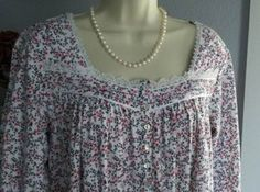 NWT S Small Eileen West Nightgown 100% Cotton Knit NEW Gown Long Sleeve ...  -  40.00  a200b273c