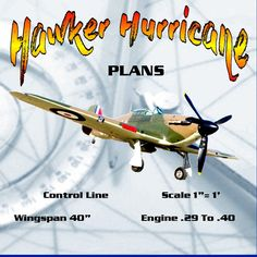 """Full Size Printed Plans Control Line Scale 1""""= 1' Wingspan 40"""" Hawker Hurricane"""