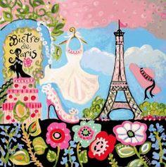 Torre Eiffel Impressão Colagem-de-rosa