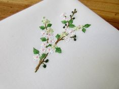 Apple tree in full bloom #flowers handkerchief white pink #pastel green spring #Easter Mothers day #wedding #May delicate embroidered by hand art
