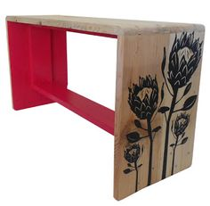 Jasper and George Fuschia Pink Bench with Protea Old Pallets, Wooden Pallets, Pallet Wood, Funky Furniture, Recycled Furniture, Furniture Ideas, Protea Art, South African Design, Clever Gadgets