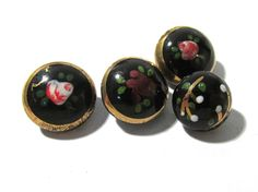 Hand Painted Black Glass Buttons West Germany VINTAGE Buttons Four (4) Hand Painted Assorted Vintage Buttons Jewelry Sewing Supplies (L296) by punksrus on Etsy