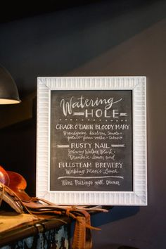 Farm + factory-inspired cocktail menu. Photography by blog.sarahderphotography.com, Event Styling + Design by gathertogetherevents.com, Read more - http://www.stylemepretty.com/2013/06/19/farm-factory-southern-styled-shoot-from-sarah-der-gather-together/