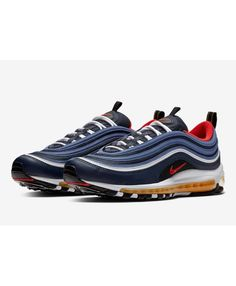 a1743c8b981 Nike Air Max 97 Midnight Navy Habanero Red Black White 921826-403