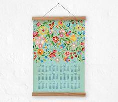 Wall calendar  2015  FolkFlora Blue  A3 A3 by DURIDO on Etsy