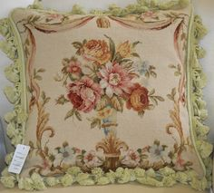 "16/"" French Country Style Handmade PetitPoint Needlepoint Pillow w//Tassel WM-71"