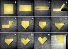 Origami-Herz-Lesezeichen/ Origami-Heart-Bookmark