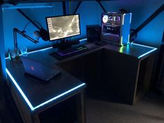 (Syncs to music but videos arent allowed) Custom RGB Desk Project Complete! (Syncs to music but videos arent allowed) Pc Gaming Table, Custom Computer Desk, Simple Computer Desk, Gaming Computer Desk, Computer Desk Setup, Custom Desk, Gaming Room Setup, Gamer Setup, Gaming Rooms