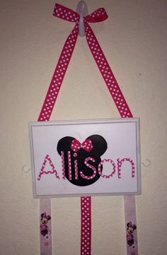 Personalized Minnie Mouse hair bow and by Forthedoorandmore