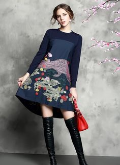 Polyester Floral Long Sleeve High Low Cute Dresses