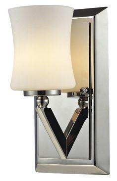 Z-Lite 608-1V Elite 1 Light Bathroom Sconce with Matte Opal Glass Shade Chrome Indoor Lighting Bathroom Fixtures Bathroom Sconce