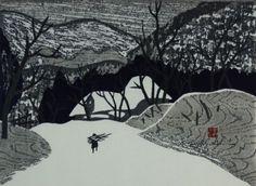 "Kiyoshi Saito (Japanese, 1907-1997) woodblock print ""Winter in Aizu"" (5) 1958"