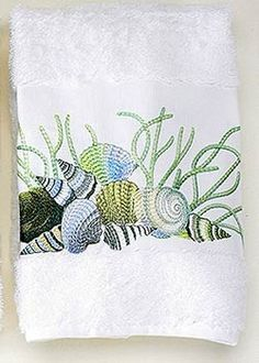 Embroidered Blue Shells on White Cotton Terry Towels/my towel fedish