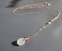 Delicate Rose Gold Moonstone Necklace, Dainty Ethiopian Opal Lariat, Delicate Long Drop Choker, Wire Wrapped Briolette Rose Gold Pendant, Y