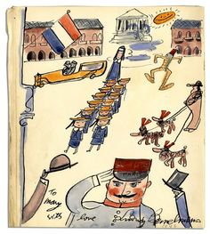 Original Artwork by ''Madeline'' Author and Illustrator Ludwig Bemelmans -- Singular Illustration From the Early 1940's