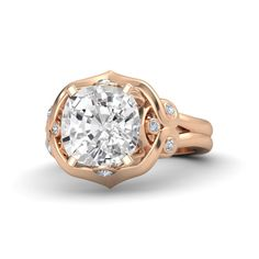 Cushion White Sapphire 14K Rose Gold Ring with Diamond - Carmen Ring | Gemvara
