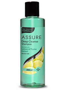 New Assure Deep Cleanse Shampoo effectively rinses away dirt and impurities. It gives required amount of moisture to the hair leaving them healthy and supple. It helps to manage excessive oil secretion from the scalp and leaves the hair fresh and bouncy.