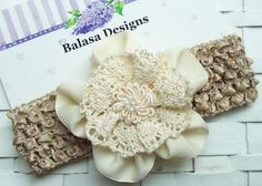 Boutique Ivory Ribbon Flower and Oatmeal Headband by Balasadesigns