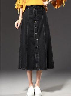 Stylish Black Skater Denim Maxi Skirt With Tassel Edge Mesh Skirt, Denim Skirts, Jean Outfits, Denim Fashion, Jeans, Perspective, Fashion Online, Tassels, High Waisted Skirt