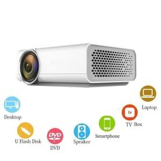 Etrends Mini Video Projector 1200 Lumens with Mobile Mirroring Via HDMI Home Theater Projector - White - Projector & Scanner - Electronics Best Portable Projector, Movie Projector, Home Theater Projectors, Multimedia, 3d Printer, Plugs, Wifi, Connection, Smartphone