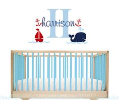 Whale Wall Decal Hampton Decal nursery by ToodlesDecalStudio