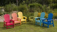 POLYWOOD® South Beach Recycled Plastic Adirondack Chair - Look at the burst of color and fun these chairs bring to your lawn! You'll smile all summer . The South Beach Adirondack Chair is part of a coll. Painting Outdoor Wood Furniture, Garden Furniture, Outdoor Furniture Sets, Painted Furniture, Driftwood Furniture, Painted Dressers, Plywood Furniture, Painted Wood, Pallet Furniture