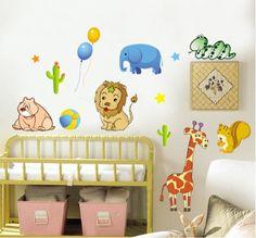 Afrika dieren, muurstickers voor op de kinderkamer. Kijk snel op www.hippemuurstickers.nl