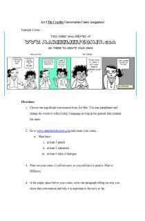 The Crucible Act I Conversation Comic Assignment, FREE document download for teachers