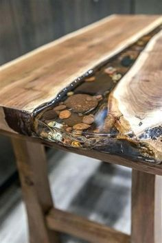 35 Beautiful Epoxy Table Top Ideas You Will Love 49 - Epoxy wood table - Epoxy Table Top, Epoxy Wood Table, Epoxy Resin Table, Diy Table Top, Slab Table, Diy Epoxy, Coffee Table Top Ideas, Dining Table, Live Edge Tisch