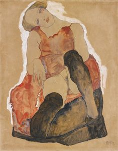 Egon Schiele (1890-1918), Girl with Black Stockings (1911), gouache, watercolour, and pencil on paper, 38.1 x 47.6 cm. Via Sotheby's.