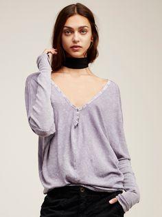 Zhenya Katava || FP WE THE FREE Santa Cruz Semi-Sheer Super Drapey Long-Sleeve Henley Tee (Mineral Purple)