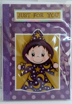 wizard with glossy eye's and star pendant with glittered star outfit and hand made envelope Glossy Eyes, How To Make An Envelope, Star Pendant, Cute Characters, A5, Just For You, Outfit, Handmade, Clothes