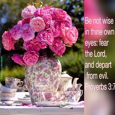 Be not wise in thine own eyes; fear the Lord, and depart from evil. ~ Proverbs 3:7