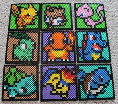 Pokemon Perler Bead and Cork Coasters by cheekybats on Etsy, $4.00
