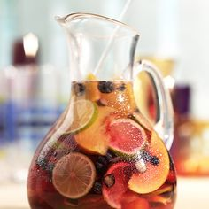 Take cranberry juice and add lime, lemon and orange slices.  Throw in some blackberries.  Add some club soda.  Serve it this way as a virgin cocktail or add wine, vodka or rum  ~  yum! ! !