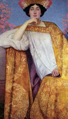 Portrait of a Woman in a Golden Dress - Gustav Klimt 1886-87painted in collaboration with Ernst Klimt ,Franz Mat