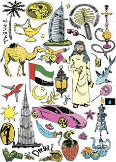 Hand Drawn Dubai Vector Collection royalty-free stock vector art