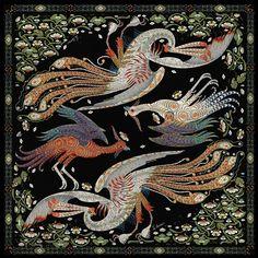 Firebird Black silk scarf